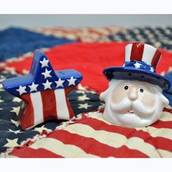 Uncle Sam and Star Salt and Pepper Set, GFIC613