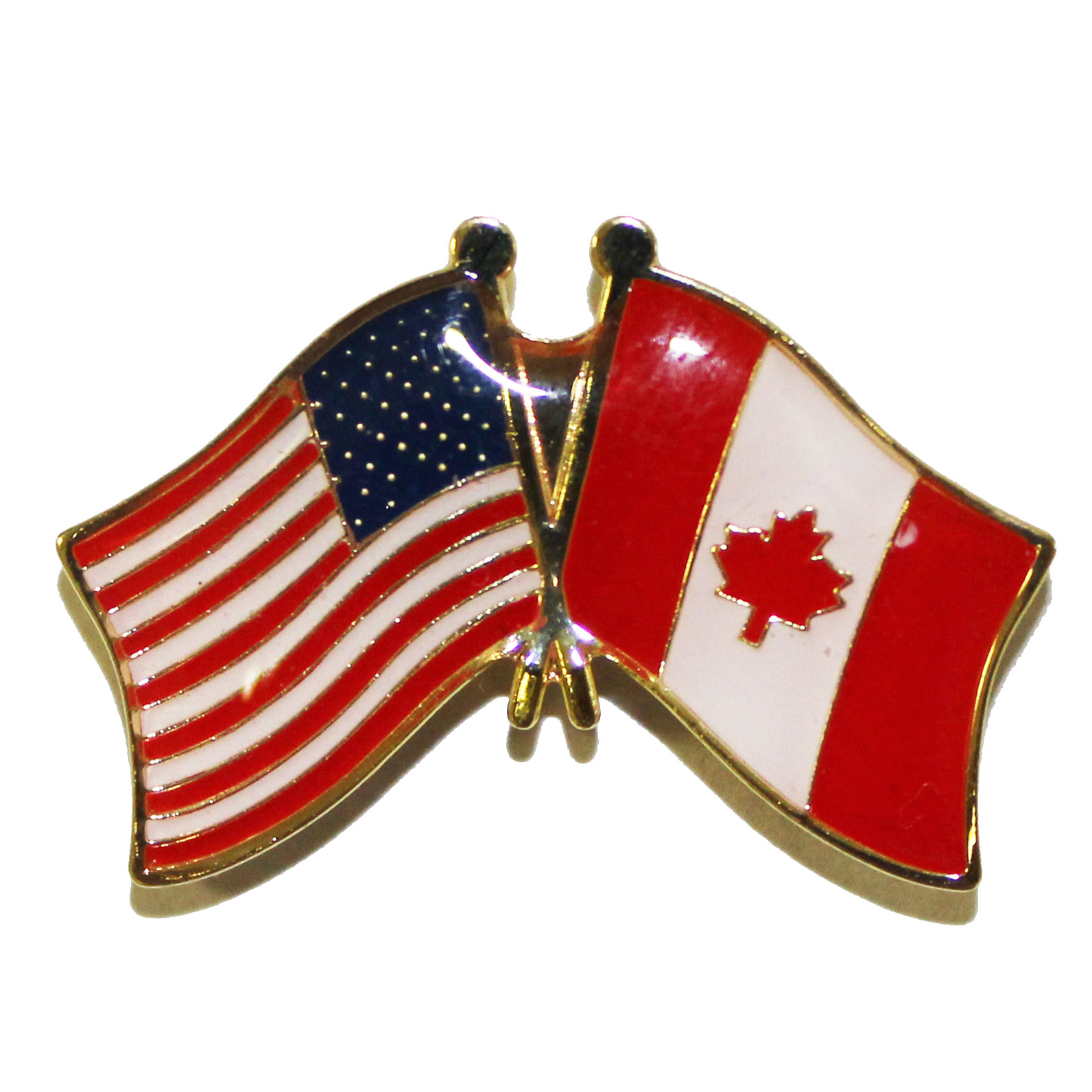 canada and us flags lapel pin