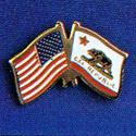 California and US Flags Lapel Pin, GPINUSCA