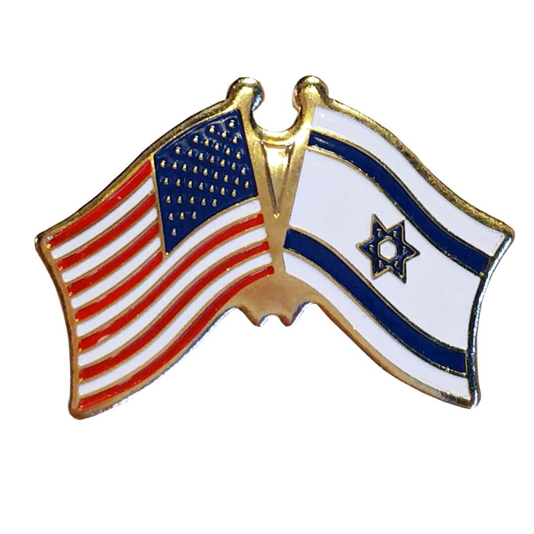 israel amp u s flag lapel pin