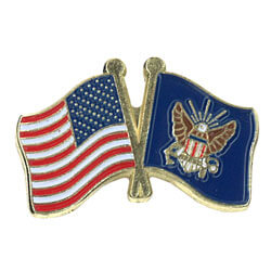 Navy and US Flags Lapel Pin, GPINUSNAVY