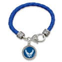 Air Force Charm Leather Clasp Bracelet, HJ38984