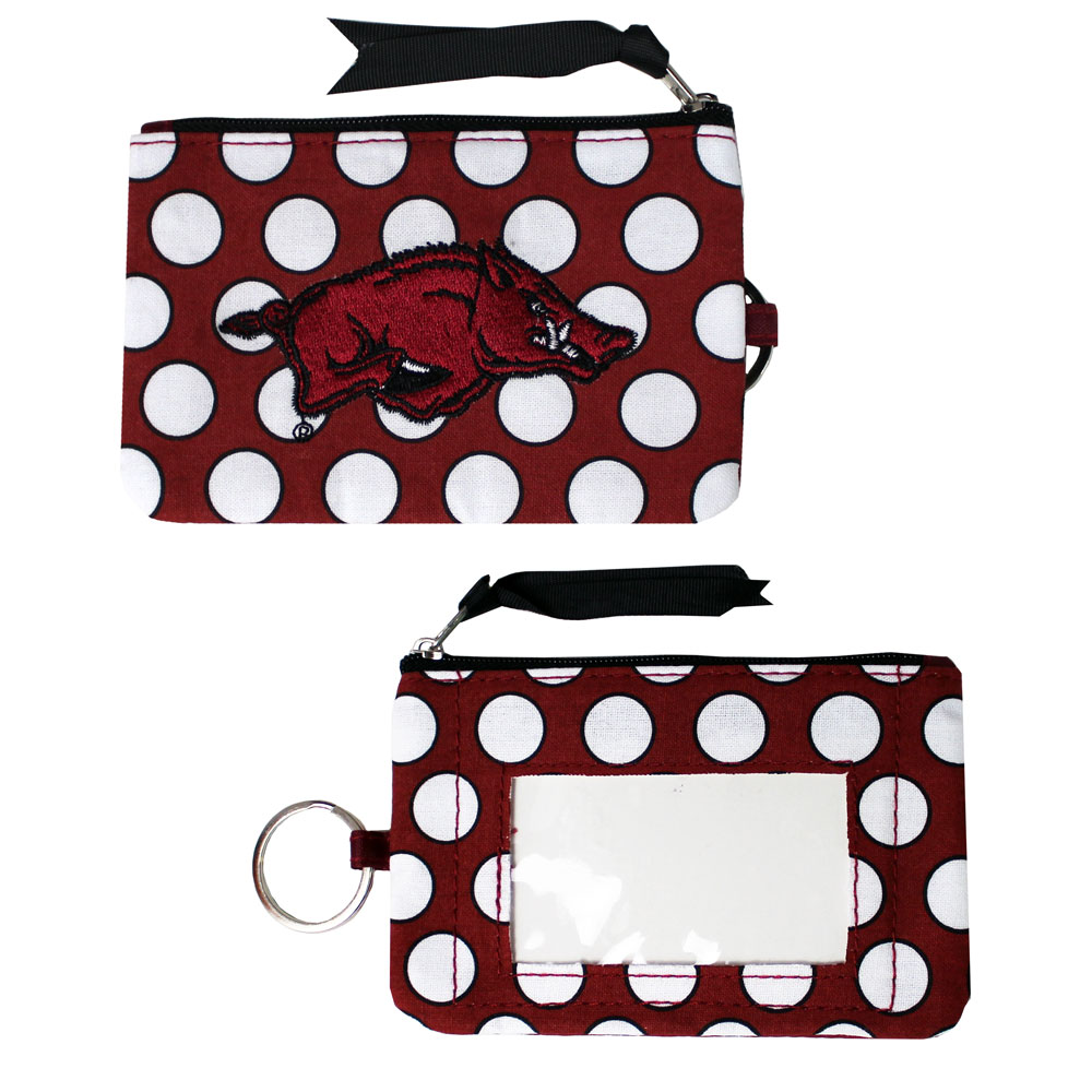 Arkansas Razorbacks Polka Dot Change Purse, J26315