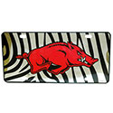 Arkansas Razorbacks Zebra Print Mirror License Plate, J34472