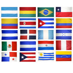 20 Latin American Countries Complete Flag Set