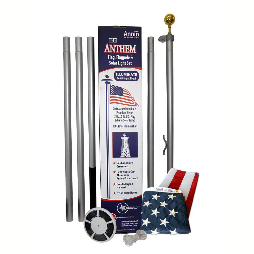 Anthem Ground Set Residential 20 Ft Flagpole Kit With