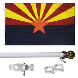 Arizona Tangle Free Flagpole Set - white flagpole, KTF35AZW