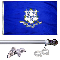 Connecticut Tangle Free Flagpole Set - silver flagpole, KTF35CTS
