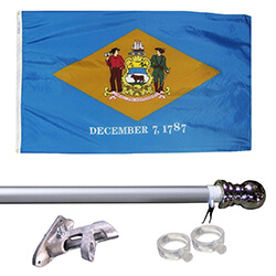 Delaware Tangle Free Flagpole Set - silver flagpole, KTF35DES