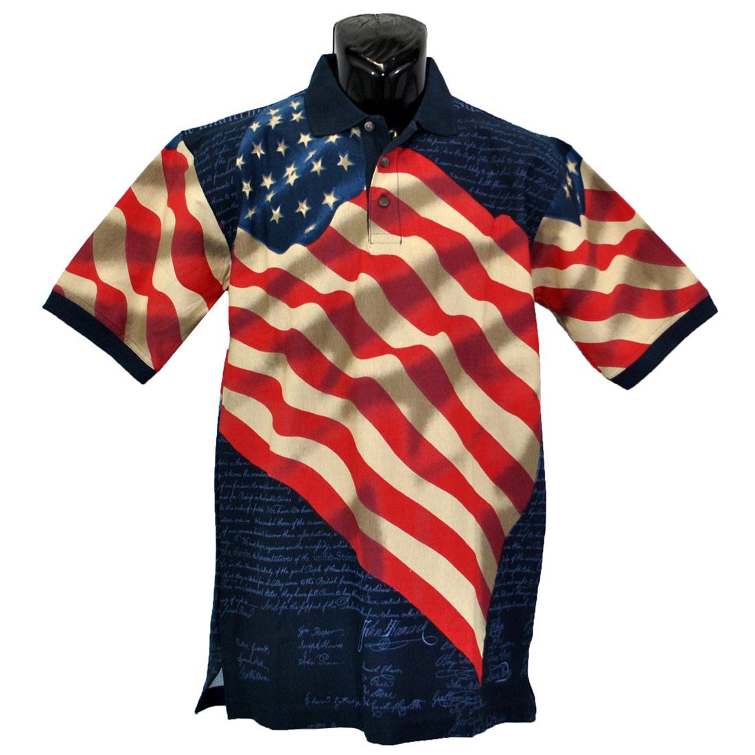 27de8156 Constitution Flag Polo Shirt (Navy Blue Medium)