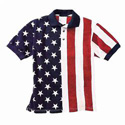 Printed Stars and Stripes Polo Shirt, LEL1012PUSAXXXL