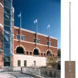 Commercial Vertical Wall-Mount Tapered Shaft Flagpole, P20VERT415188