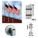 Aluminum Natural Anodized Tapered Shaft Vertical Wall-Mount Flagpole