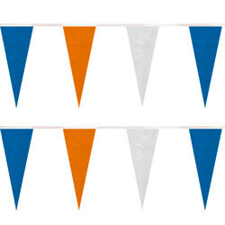 Blue Orange White Heavy Duty String Icicle Pennants, PENNSP869BOW