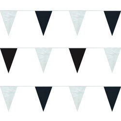 Black and White String Pennants, PENNSPC50J