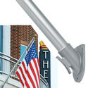 6 ft. Straight Shaft Outrigger Anodized Aluminum Flagpole with 45 degree Shield Bracket, POUTR62945