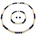 Navy Freshwater Pearl Jewelry Set, PPEARLSNAV