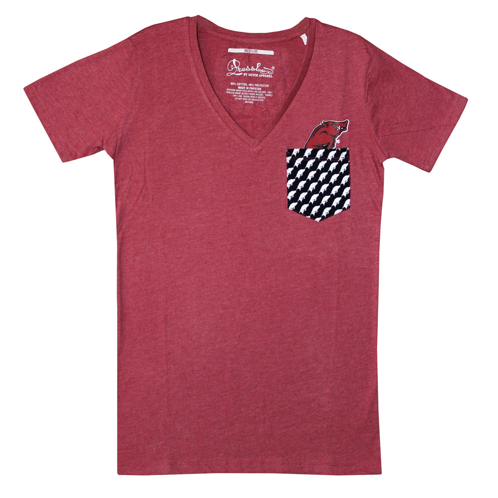 Arkansas Razorbacks Crimson V-Neck T-shirt, FBPP0000013661