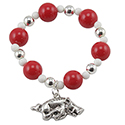 Arkansas Razorbacks Beaded Charm Bracelet, RSCRBB8