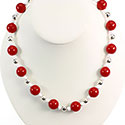 Red and White Bauble Necklace, RSCRBN8
