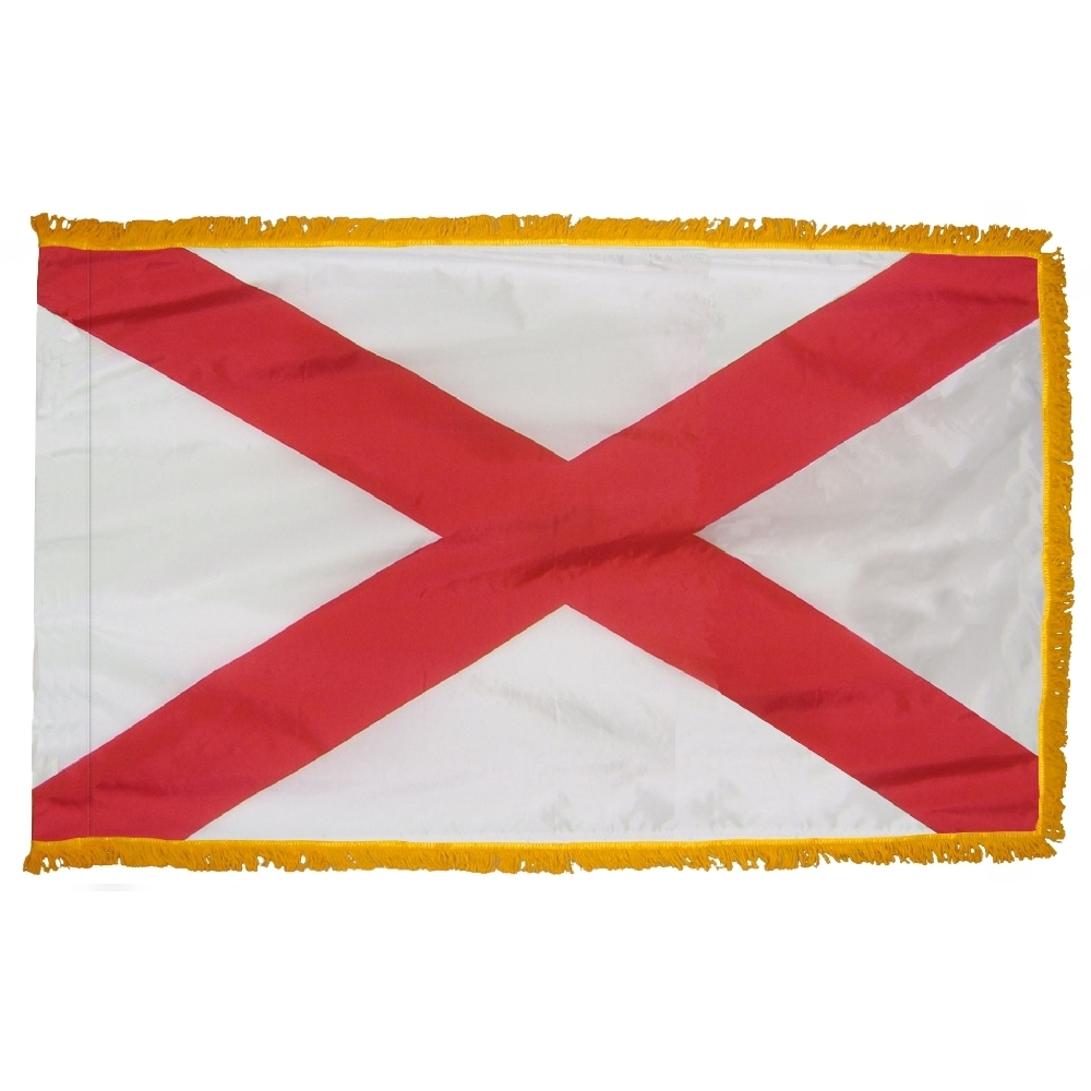 Alabama Flag Fringed with Pole Hem, FBPP0000009445