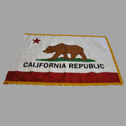 California Appliqued Flag with Pole Hem and Fringe, 3 x 5 ft., SCA35PHFA