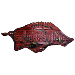 Arkansas Razorbacks Recycled License Plate Sign, STARARKLP