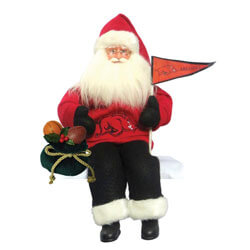 Animated Arkansas Razorbacks Santa Figurine, SWIARR040