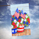 Patriotic Pansies House Flag, TOL109616H
