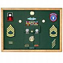 Oak Rectangular military awards frame with pocket