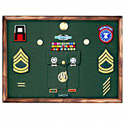 Walnut Rectangular military awards frame with pocket