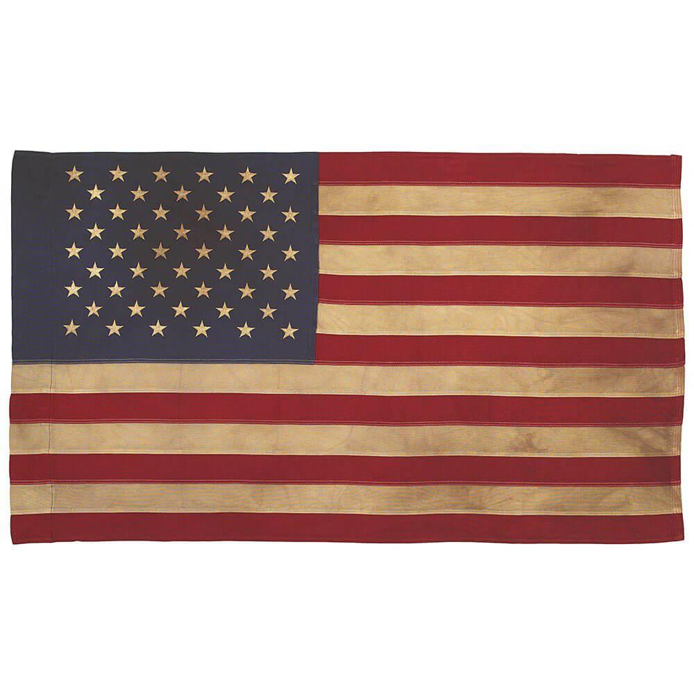 Tea Stained Us Flag With Pole Hem