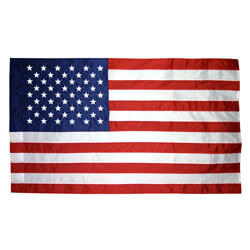 Indoor US Flag with embroidered stars and pole hem, US35AG