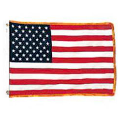 US Fringed Flag with Canvas Heading, US35CHFAFB