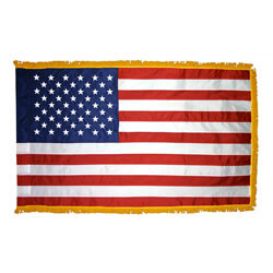 Top-of-the-Line US Fringed Flag with Pole Hem