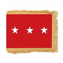 Army LT. General Flag with Pole Hem and Fringe, AARMYSTAR323PHF