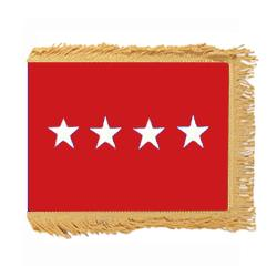 Army General Flag with Pole Hem and Fringe, AARMYSTAR458PHF