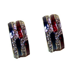Crystal Patriotic Red White and Blue Earrings