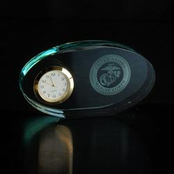 Marine Corps Oval Glass Clock, AGL7046MAR