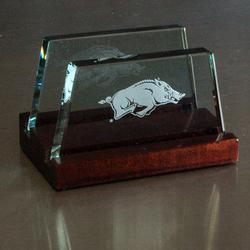 Arkansas Razorback Glass Business Card Holder, AGL8041ARK