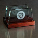 Navy Glass Business Card Holder, AGL8041NAV