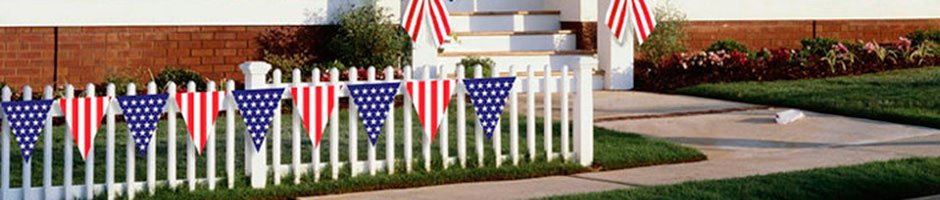American flag pennants put the finishing details on your home or business patriotic decorating.