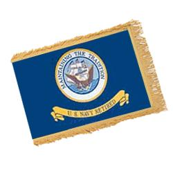 Navy Retired Fringed Flag with Pole Hem, ANAVY34PHF