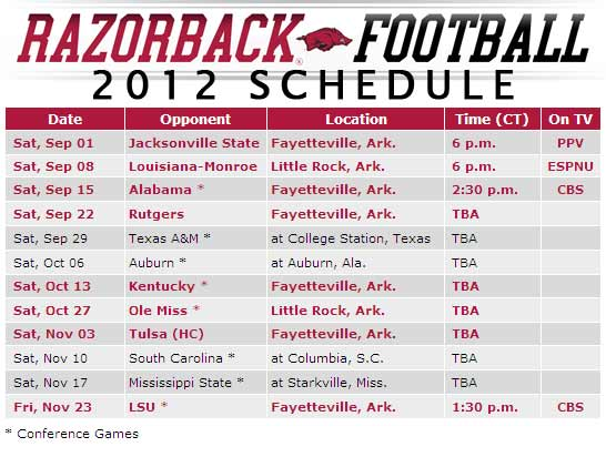 Razorback 2012 Football schedule
