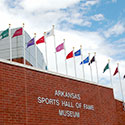 Custom flag installation at the Arkansas Sports Hall of Fame Museum