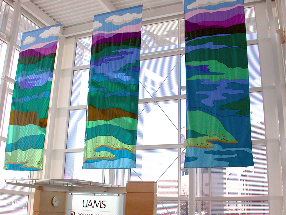 Applique banners - These hang in the University of Arkansas for the Medical Sciences hospital.