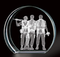 The Three Soldiers Monument 3D Laser Etched Crystal, BIT9886