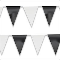 String Pennant Flags with Blacks & Whites