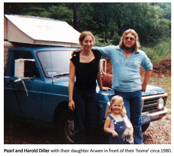 Pearl and Harold Diller with their daughter Arwen in front of their home