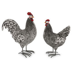 Barnyard Rooster and Hen Figurine